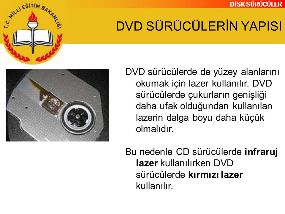 DİSK SÜRÜCÜLER DVD SÜRÜCÜLERİN YAPISI DVD sürücülerde de yüzey alanlarını okumak için lazer kullanılır. DVD sürücülerde çukurların genişliği daha ufak