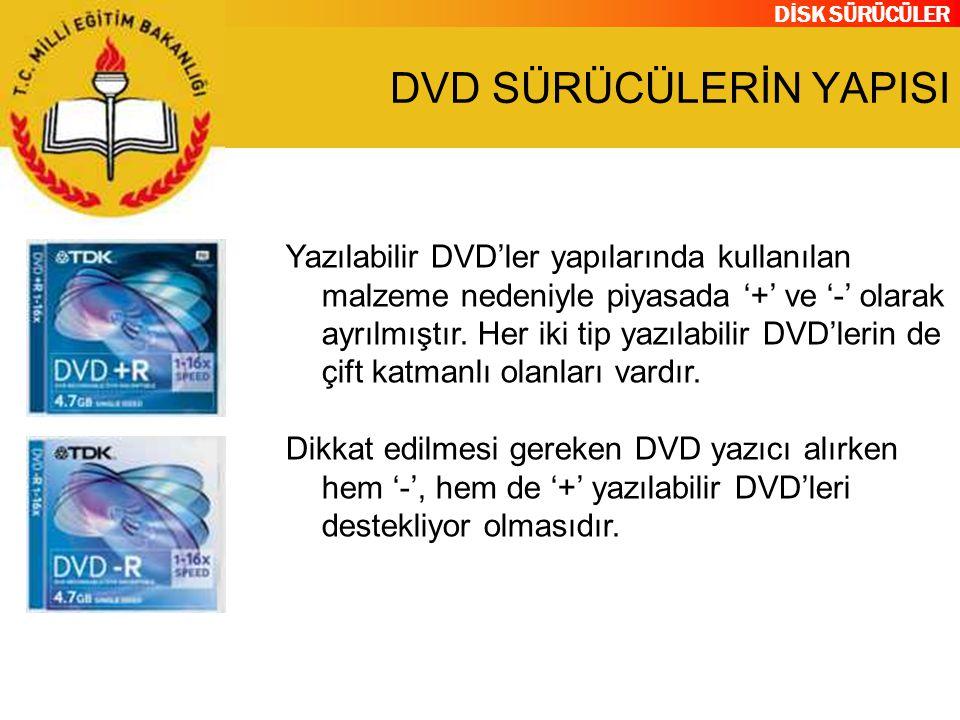 DİSK SÜRÜCÜLER DVD SÜRÜCÜLERİN YAPISI Yazılabilir DVD'ler yapılarında kullanılan malzeme nedeniyle piyasada '+' ve '-' olarak ayrılmıştır. Her iki tip