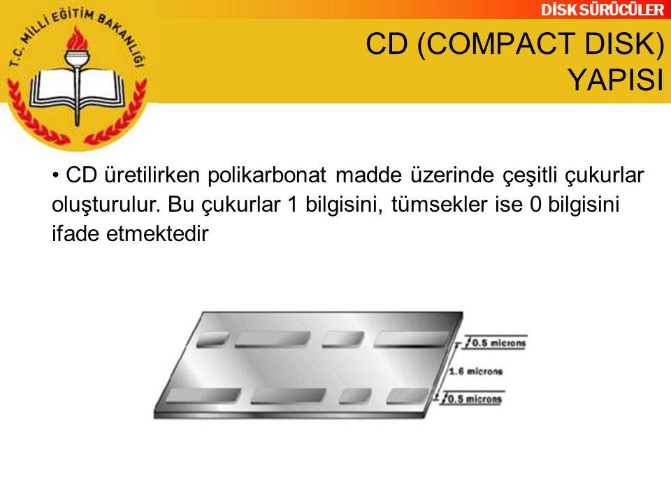 DİSK SÜRÜCÜLER CD (COMPACT DISK) YAPISI CD üretilirken polikarbonat madde üzerinde çeşitli çukurlar oluşturulur. Bu çukurlar 1 bilgisini, tümsekler is