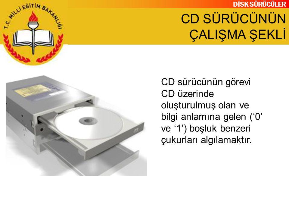 DİSK SÜRÜCÜLER CD SÜRÜCÜNÜN ÇALIŞMA ŞEKLİ CD sürücünün görevi CD üzerinde oluşturulmuş olan ve bilgi anlamına gelen ('0' ve '1') boşluk benzeri çukurl