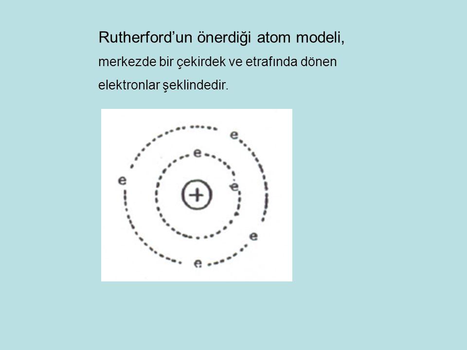 Rutherford'un önerdiği atom modeli, merkezde bir çekirdek ve etrafında dönen elektronlar şeklindedir.