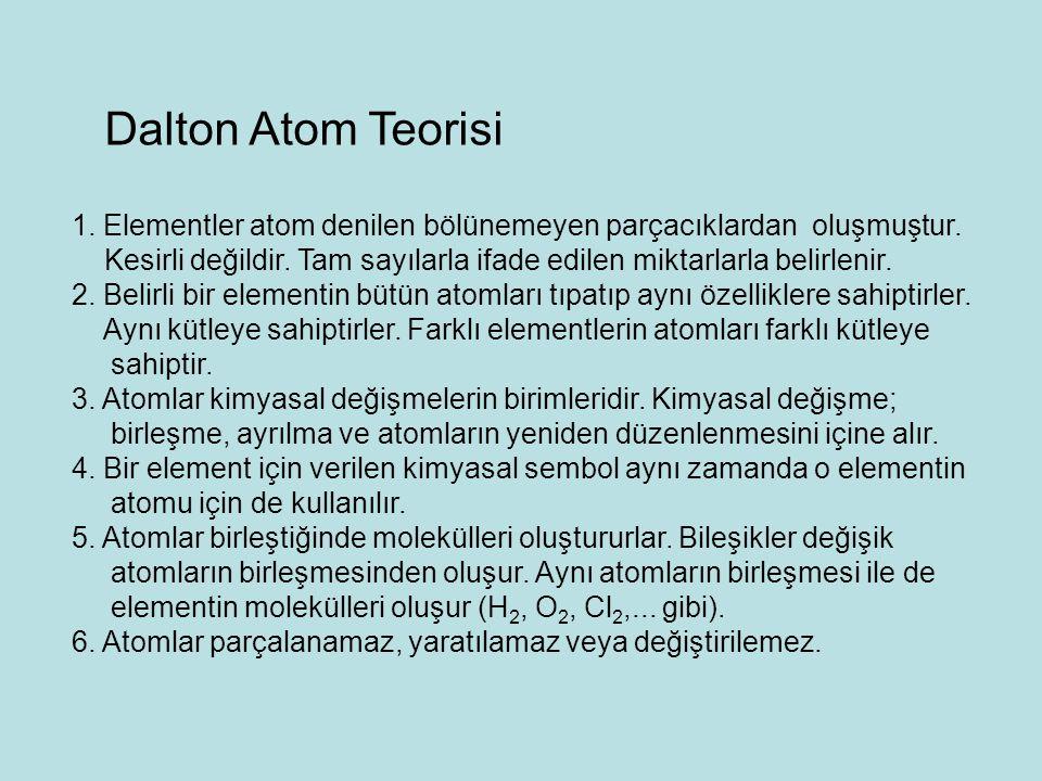 Dalton Atom Teorisi 1. Elementler atom denilen bölünemeyen parçacıklardan oluşmuştur. Kesirli değildir. Tam sayılarla ifade edilen miktarlarla belirle