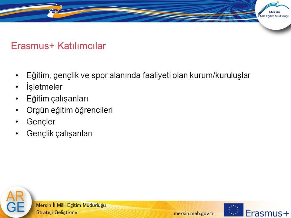 Erasmus+ Katılımcılar Eğitim, gençlik ve spor alanında faaliyeti olan kurum/kuruluşlar İşletmeler Eğitim çalışanları Örgün eğitim öğrencileri Gençler