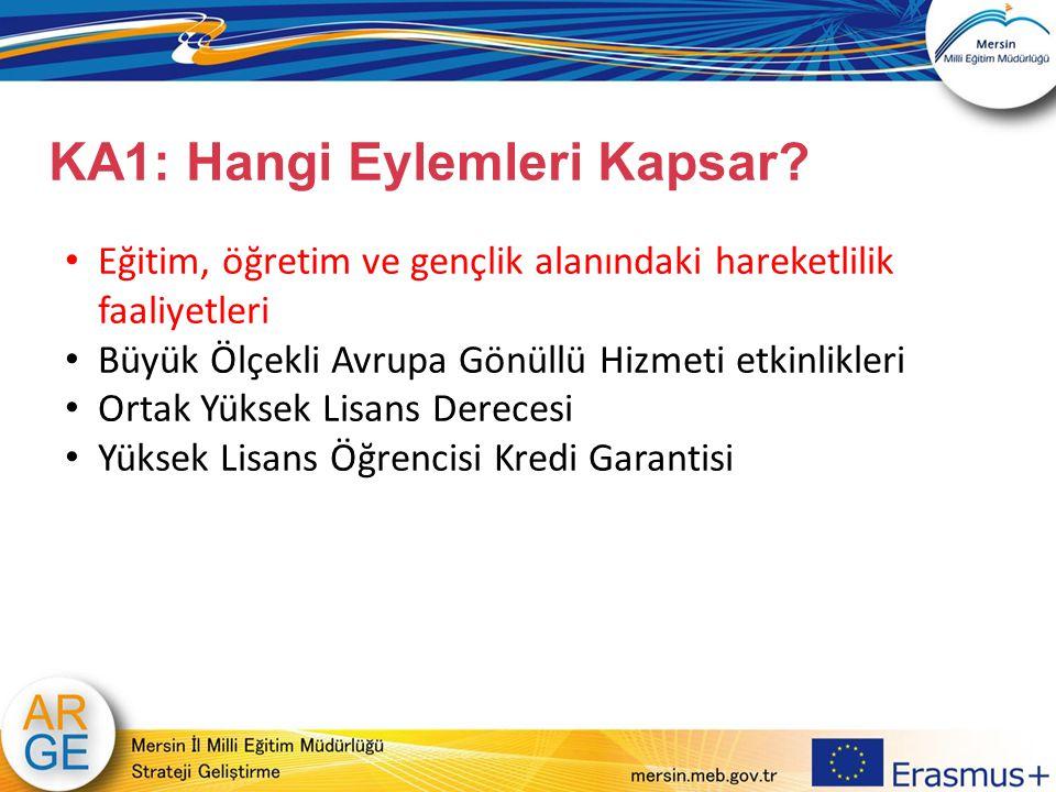 KA1: Hangi Eylemleri Kapsar? Eğitim, öğretim ve gençlik alanındaki hareketlilik faaliyetleri Büyük Ölçekli Avrupa Gönüllü Hizmeti etkinlikleri Ortak Y