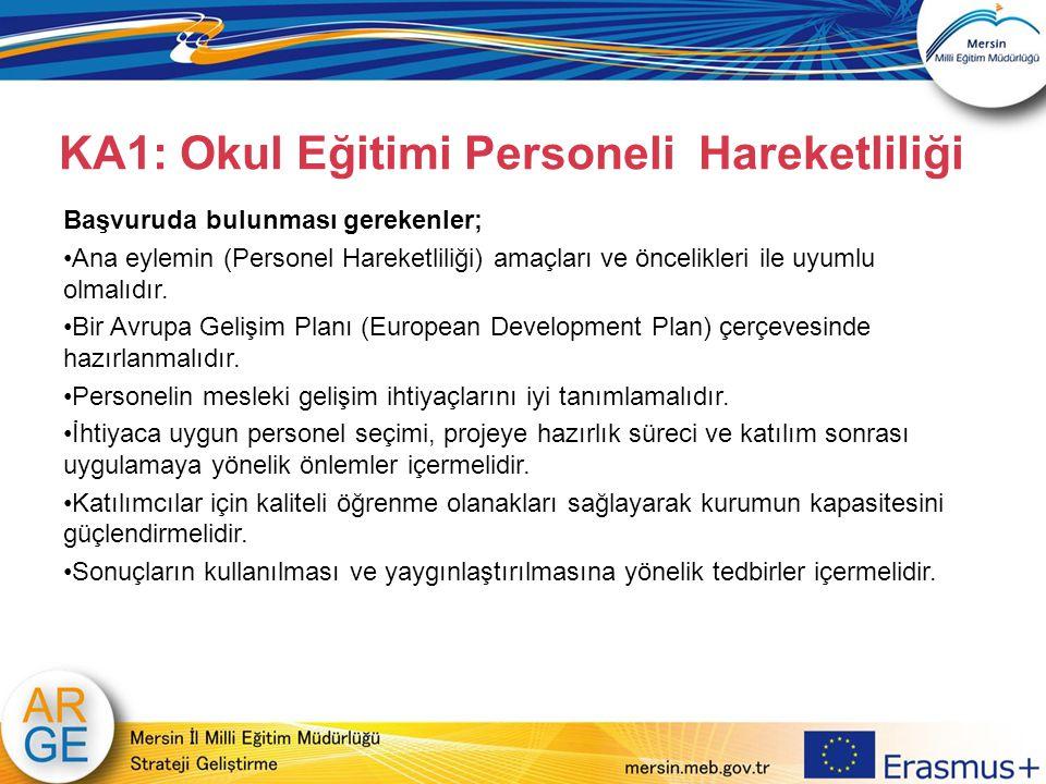 Başvuruda bulunması gerekenler; Ana eylemin (Personel Hareketliliği) amaçları ve öncelikleri ile uyumlu olmalıdır. Bir Avrupa Gelişim Planı (European