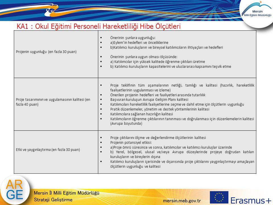 Projenin uygunluğu (en fazla 30 puan)  Önerinin şunlara uygunluğu:  a)Eylem'in hedefleri ve önceliklerine  b)Katılımcı kuruluşların ve bireysel kat