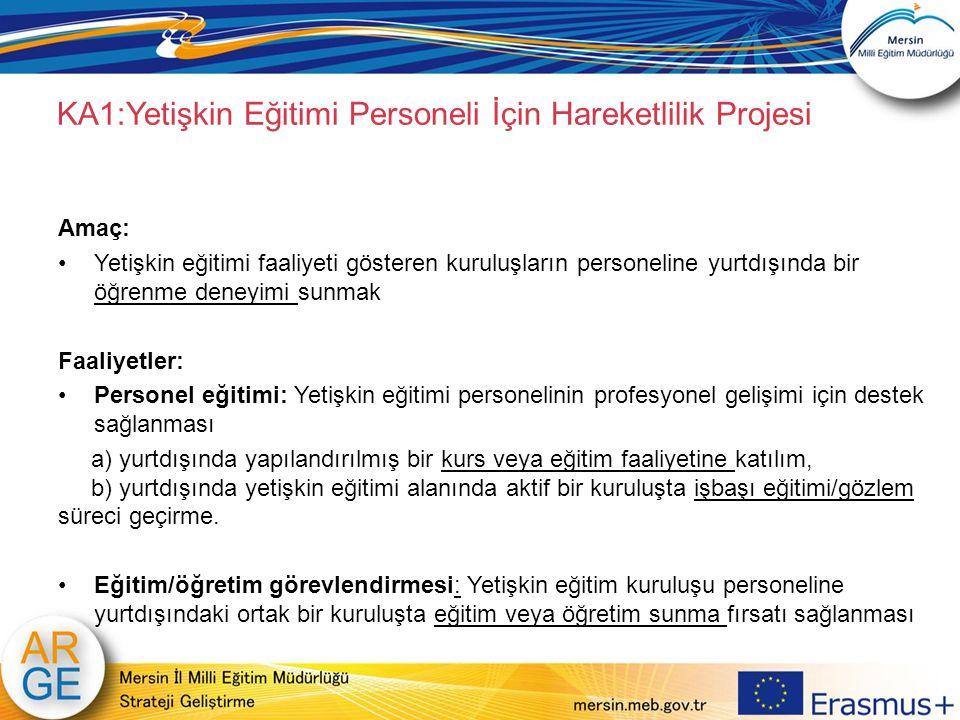 KA1:Yetişkin Eğitimi Personeli İçin Hareketlilik Projesi Amaç: Yetişkin eğitimi faaliyeti gösteren kuruluşların personeline yurtdışında bir öğrenme de