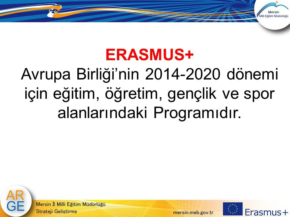 ERASMUS+ Avrupa Birliği'nin 2014-2020 dönemi için eğitim, öğretim, gençlik ve spor alanlarındaki Programıdır.
