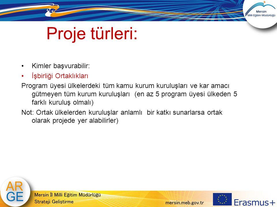 Proje türleri: Kimler başvurabilir: İşbirliği Ortaklıkları Program üyesi ülkelerdeki tüm kamu kurum kuruluşları ve kar amacı gütmeyen tüm kurum kurulu
