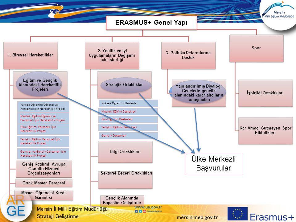 ERASMUS+ Genel Yapı 1. Bireysel Hareketlikler Eğitim ve Gençlik Alanındaki Hareketlilik Projeleri Geniş Katılımlı Avrupa Gönüllü Hizmeti Organizasyonl