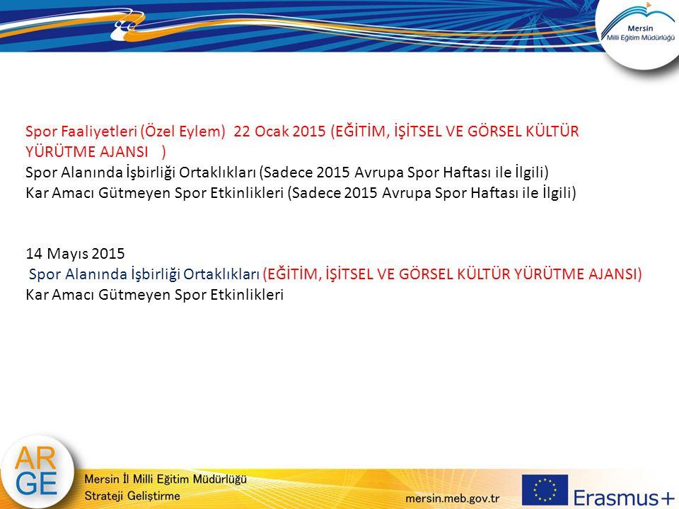 Spor Faaliyetleri (Özel Eylem) 22 Ocak 2015 (EĞİTİM, İŞİTSEL VE GÖRSEL KÜLTÜR YÜRÜTME AJANSI) Spor Alanında İşbirliği Ortaklıkları (Sadece 2015 Avrupa