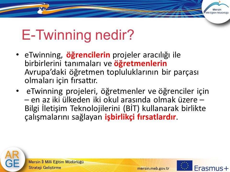 E-Twinning nedir? eTwinning, öğrencilerin projeler aracılığı ile birbirlerini tanımaları ve öğretmenlerin Avrupa'daki öğretmen topluluklarının bir par