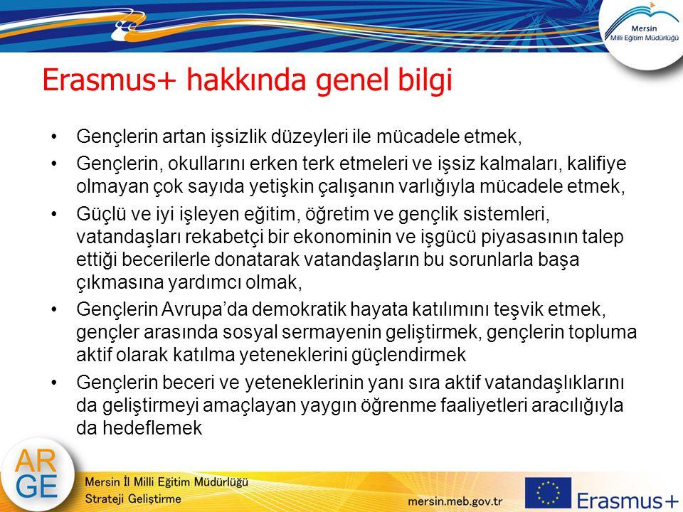 Erasmus+ hakkında genel bilgi Gençlerin artan işsizlik düzeyleri ile mücadele etmek, Gençlerin, okullarını erken terk etmeleri ve işsiz kalmaları, kal
