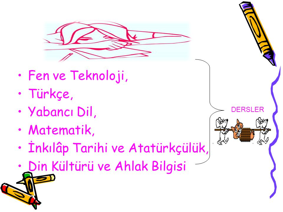 Fen ve Teknoloji, Türkçe, Yabancı Dil, Matematik, İnkılâp Tarihi ve Atatürkçülük, Din Kültürü ve Ahlak Bilgisi DERSLER