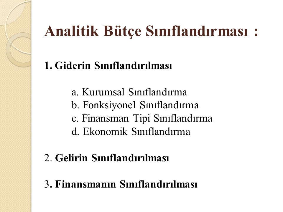 Analitik Bütçe Sınıflandırması : 1.Giderin Sınıflandırılması a. Kurumsal Sınıflandırma b. Fonksiyonel Sınıflandırma c. Finansman Tipi Sınıflandırma d.