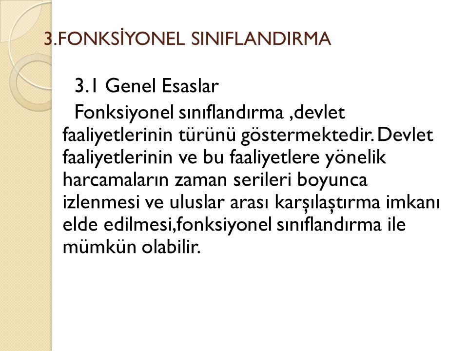 3.FONKS İ YONEL SINIFLANDIRMA 3.1 Genel Esaslar Fonksiyonel sınıflandırma,devlet faaliyetlerinin türünü göstermektedir. Devlet faaliyetlerinin ve bu f