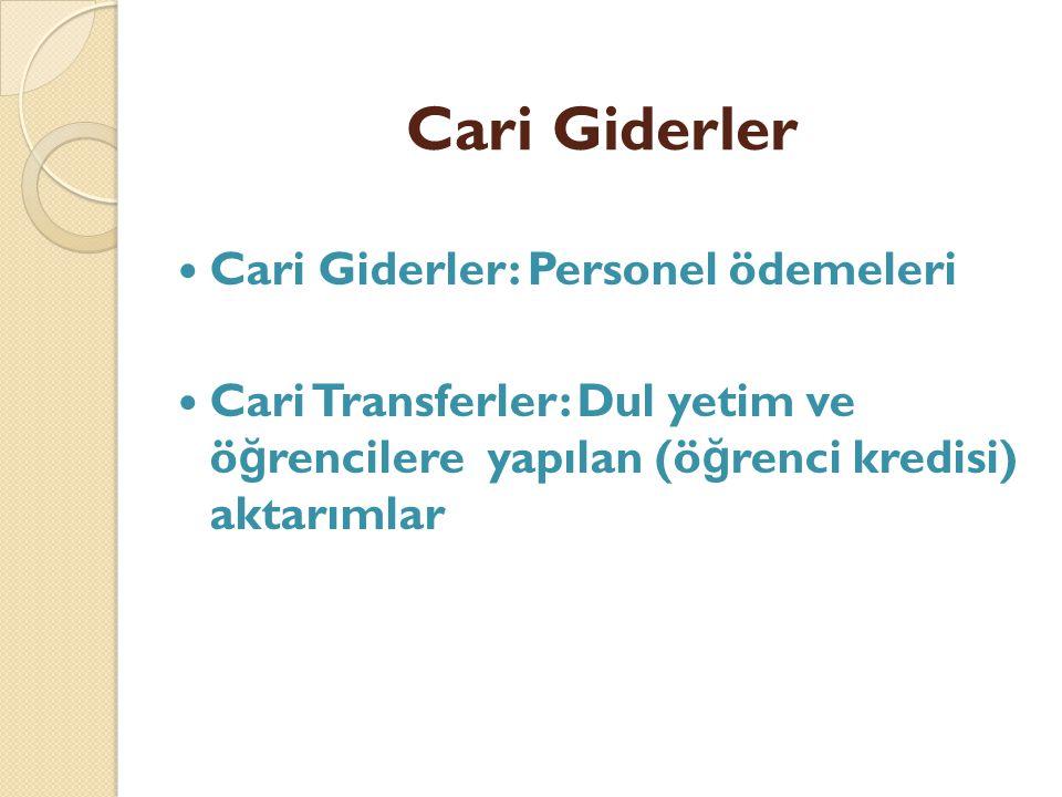 Cari Giderler Cari Giderler: Personel ödemeleri Cari Transferler: Dul yetim ve ö ğ rencilere yapılan (ö ğ renci kredisi) aktarımlar