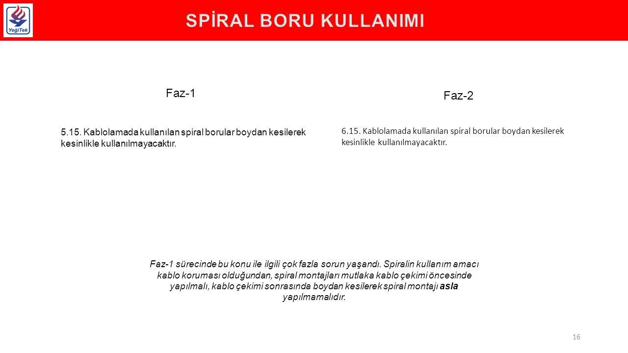 5.15.Kablolamada kullanılan spiral borular boydan kesilerek kesinlikle kullanılmayacaktır.