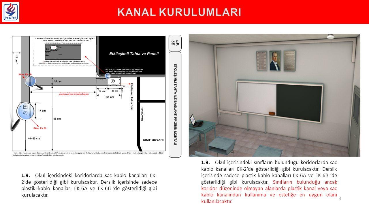 1.9.Okul içerisindeki koridorlarda sac kablo kanalları EK- 2'de gösterildiği gibi kurulacaktır.