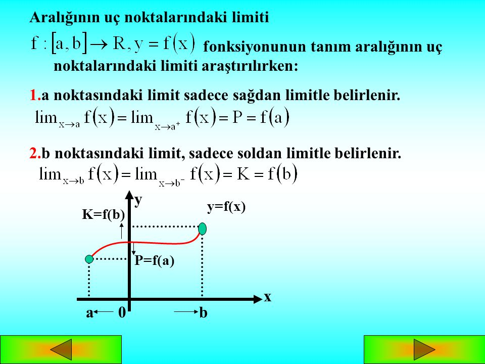 Şekildeki grafiklerde, x in a ya soldan ve sağdan yaklaşması durumunda soldan ve sağdan limitleri görülmektedir. Sonuçlar: ve için; 1. ise, dir. 2. is