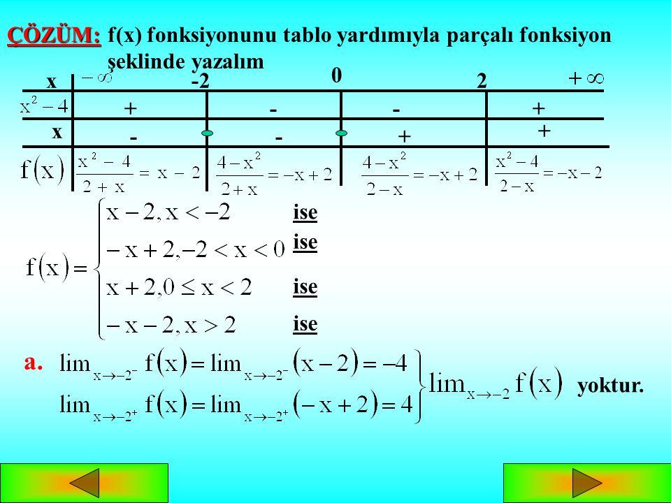 MUTLAK DEĞERLİ FONKSİYONLARIN LİMİTİ in bulunuşunda: x=a noktası kritik nokta ise, soldan ve sağdan limit incelenmelidir. Limit sorulan nokta kritik n