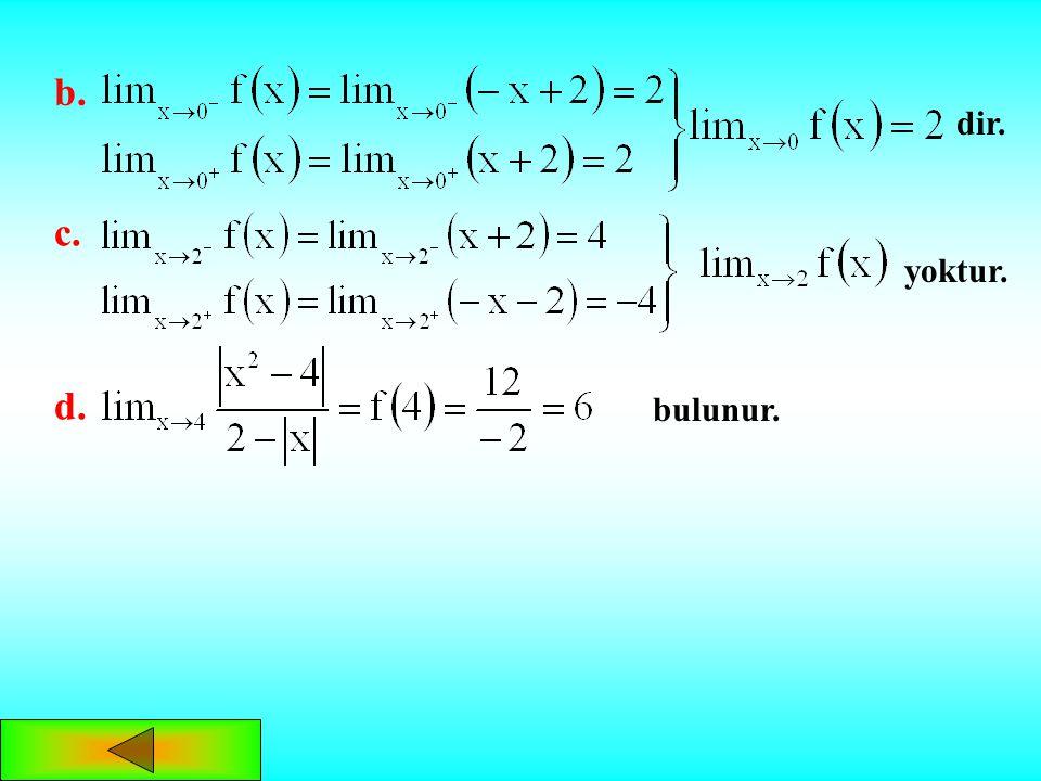 f(x) fonksiyonunu tablo yardımıyla parçalı fonksiyon şeklinde yazalımÇÖZÜM: x x + + + +-- -- -22 0 ise a. yoktur.