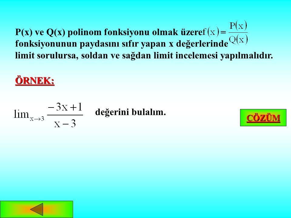 SONSUZ LİMİT ve olmak üzere, ya da fonksiyonu için, terimleri; kümesine ait ve a sayısına yakınsayan dizisi için, : 1.ise, 2.ise,dur. y x a 0 ANA MENÜ