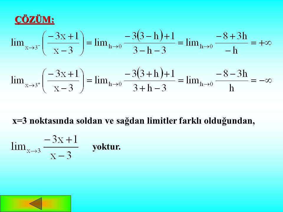 P(x) ve Q(x) polinom fonksiyonu olmak üzere fonksiyonunun paydasını sıfır yapan x değerlerinde limit sorulursa, soldan ve sağdan limit incelemesi yapı