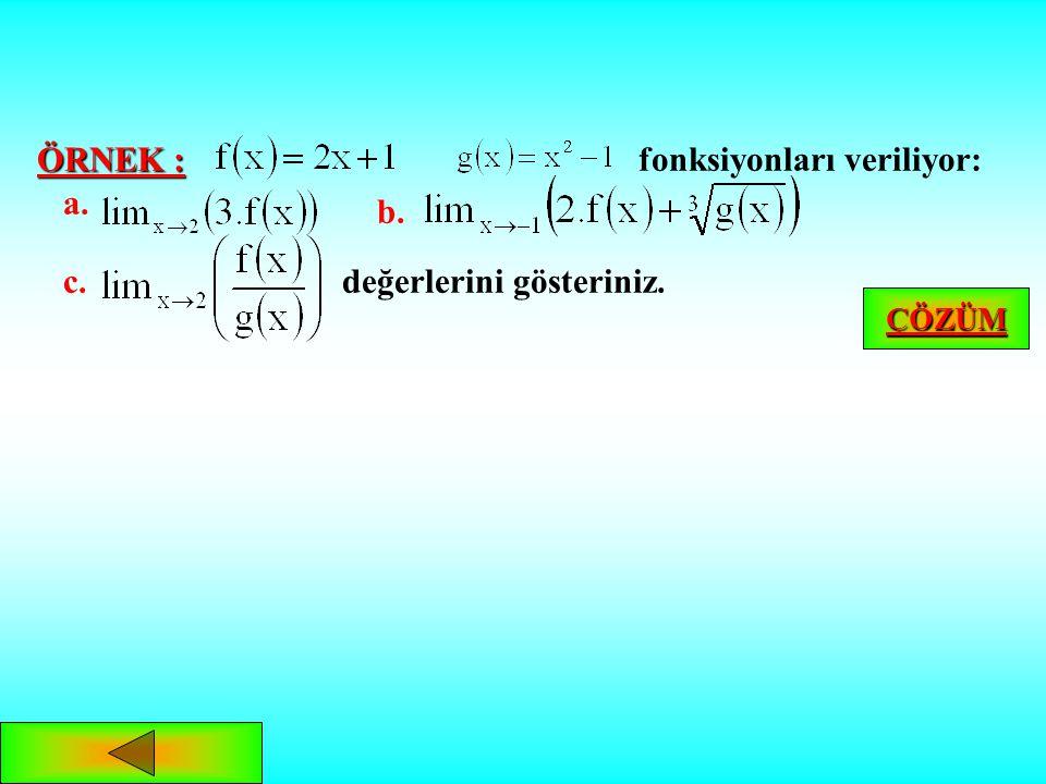 FONKSİYONLARIN LİMİTİ İLE İLGİLİ TEOREMLER olmak üzere, ye ya da ye tanımlı f ve g fonksiyonları için;Teorem: veise, 1. 2. 3. 4. ÖRNEK ANA MENÜ ANA ME