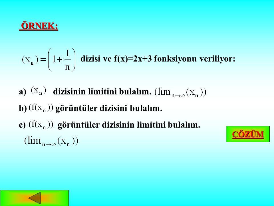 ÖRNEK: ÖRNEK: dizisi ve f(x)=2x+3 fonksiyonu veriliyor: a) a) dizisinin limitini bulalım.