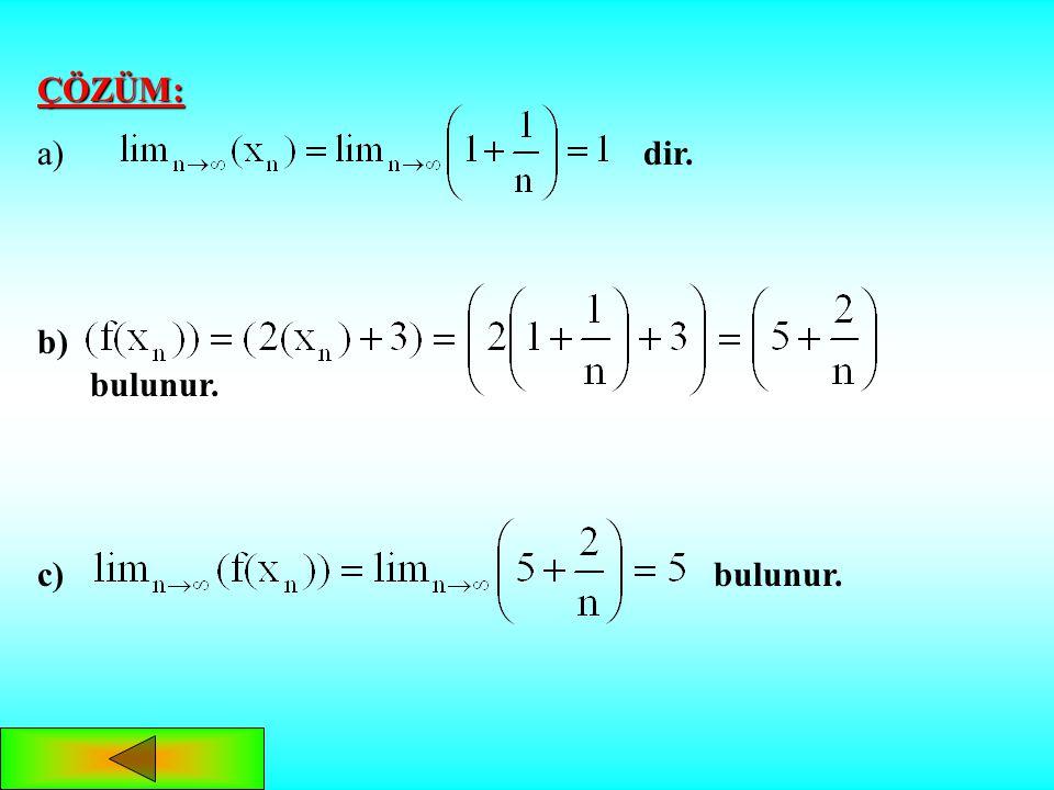 ÖRNEK: ÖRNEK: dizisi ve f(x)=2x+3 fonksiyonu veriliyor: a) a) dizisinin limitini bulalım. b) b) görüntüler dizisini bulalım. c) c) görüntüler dizisini