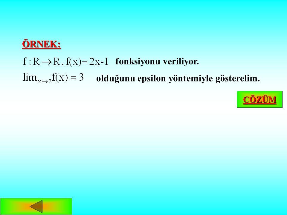 Tanım: Tanım: bir fonksiyon olmak üzere önermesine uyan a bağlı varsa x, a'ya yakınsarken f'nin limiti L'dir denir ve biçiminde yazılır. Tanımı aşağıd