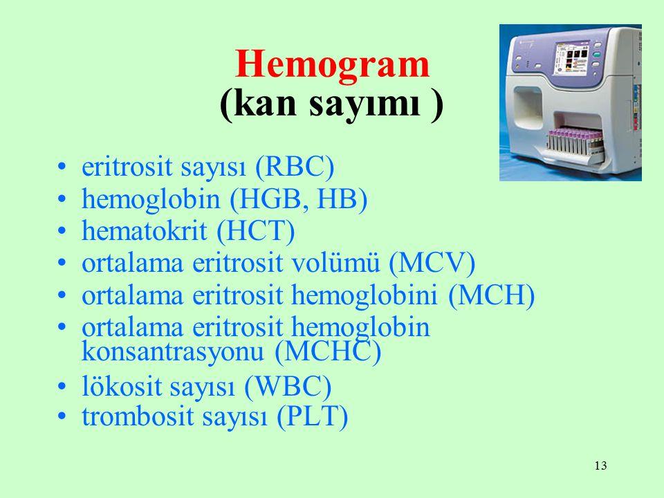 13 Hemogram (kan sayımı ) eritrosit sayısı (RBC) hemoglobin (HGB, HB) hematokrit (HCT) ortalama eritrosit volümü (MCV) ortalama eritrosit hemoglobini