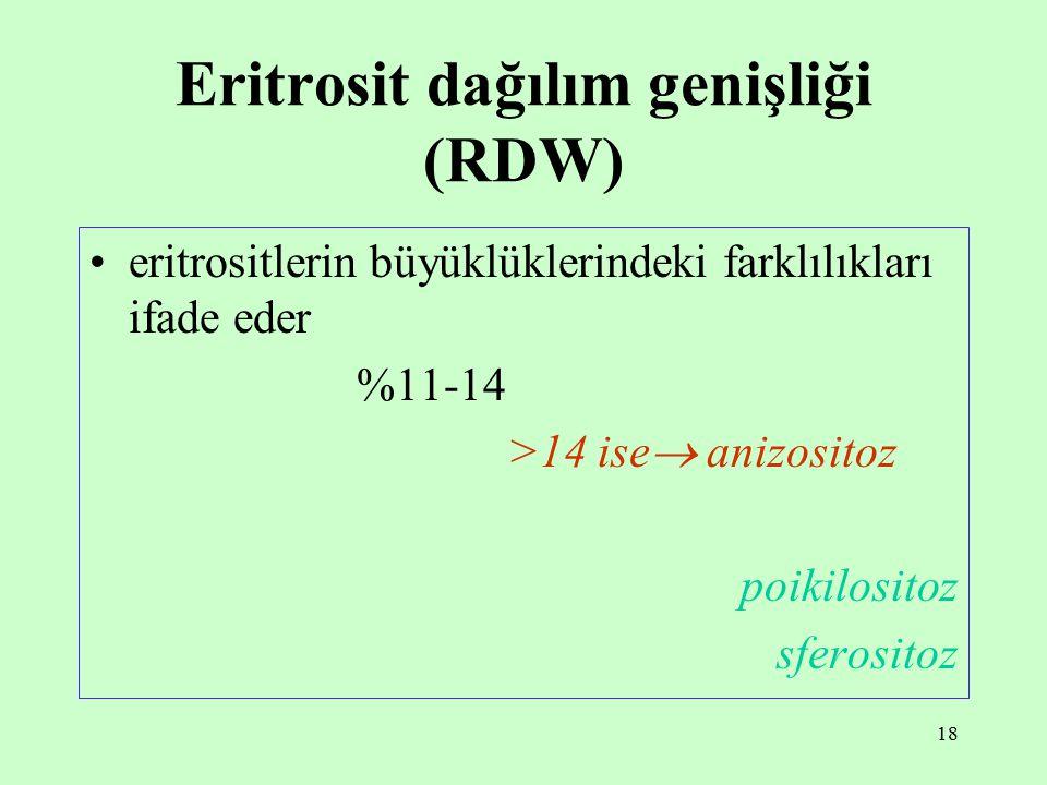 18 Eritrosit dağılım genişliği (RDW) eritrositlerin büyüklüklerindeki farklılıkları ifade eder %11-14 >14 ise  anizositoz poikilositoz sferositoz