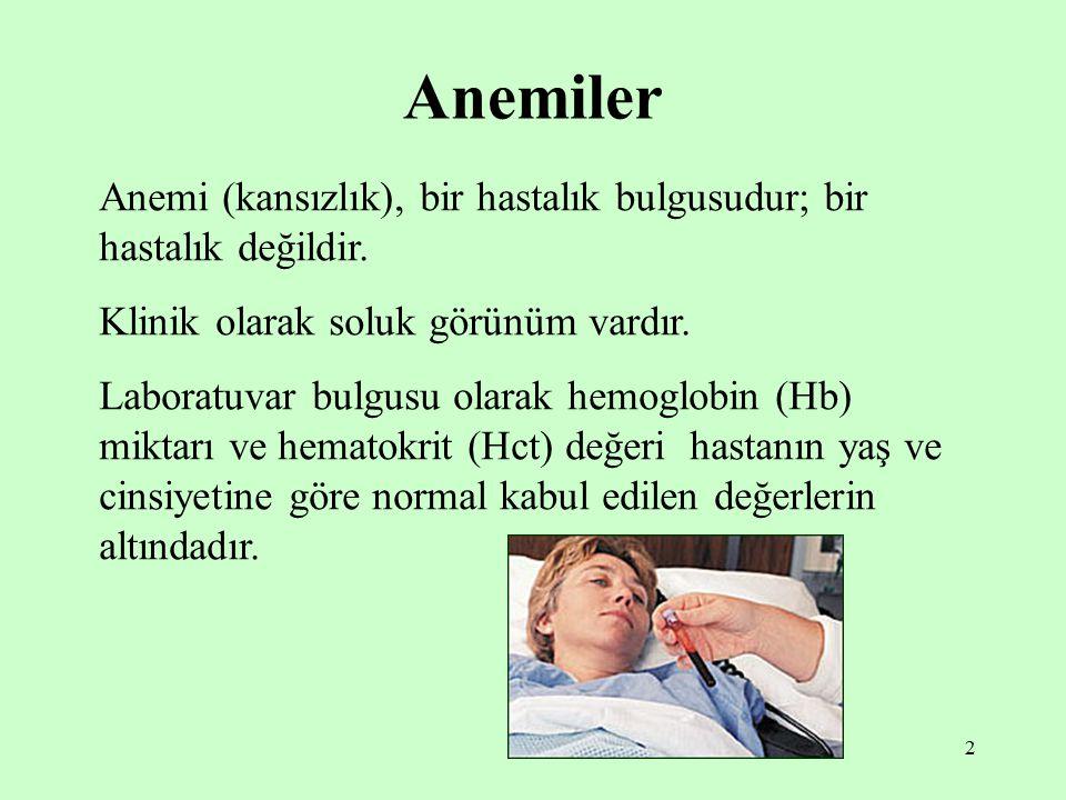 2 Anemiler Anemi (kansızlık), bir hastalık bulgusudur; bir hastalık değildir. Klinik olarak soluk görünüm vardır. Laboratuvar bulgusu olarak hemoglobi
