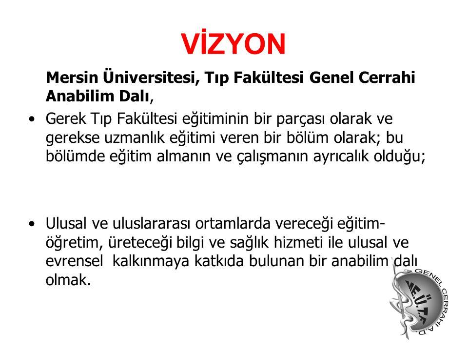 VİZYON Mersin Üniversitesi, Tıp Fakültesi Genel Cerrahi Anabilim Dalı, Gerek Tıp Fakültesi eğitiminin bir parçası olarak ve gerekse uzmanlık eğitimi v
