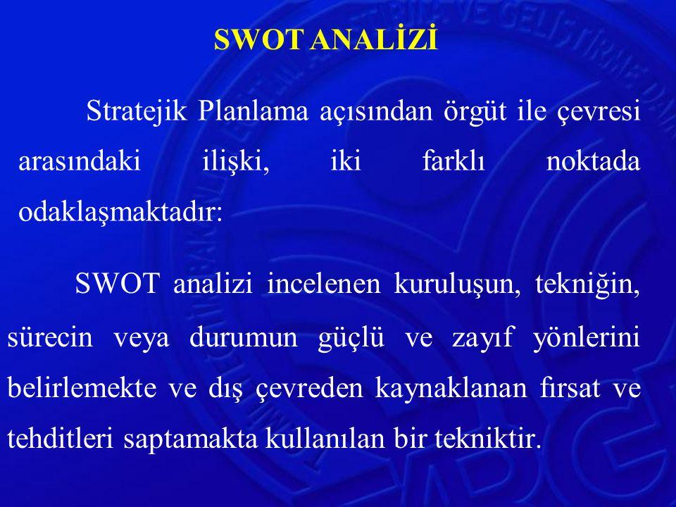 Stratejik Planlama açısından örgüt ile çevresi arasındaki ilişki, iki farklı noktada odaklaşmaktadır: SWOT analizi incelenen kuruluşun, tekniğin, süre