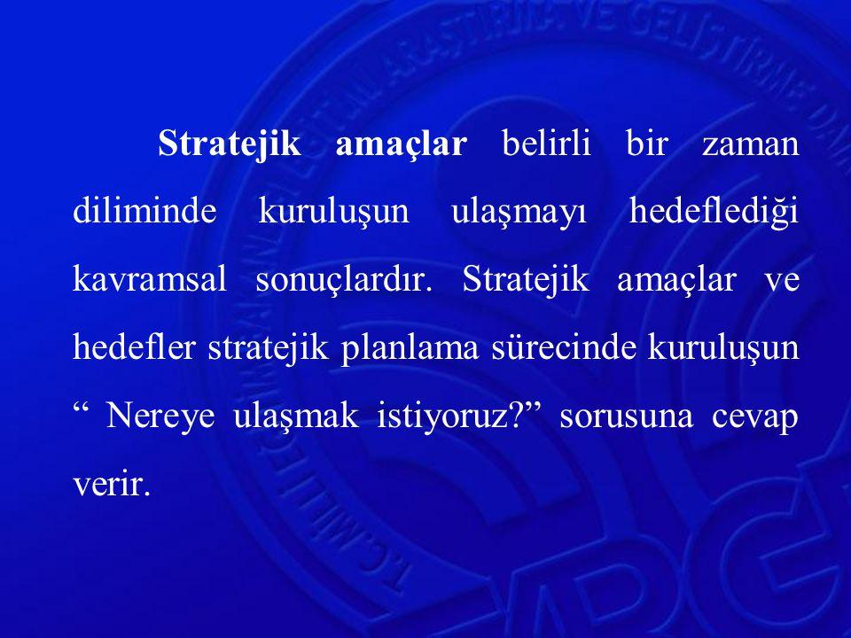 Stratejik amaçlar belirli bir zaman diliminde kuruluşun ulaşmayı hedeflediği kavramsal sonuçlardır. Stratejik amaçlar ve hedefler stratejik planlama s