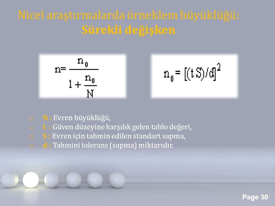 Page 30 Nicel araştırmalarda örneklem büyüklüğü: Sürekli değişken o N : Evren büyüklüğü, o t : Güven düzeyine karşılık gelen tablo değeri, o S : Evren