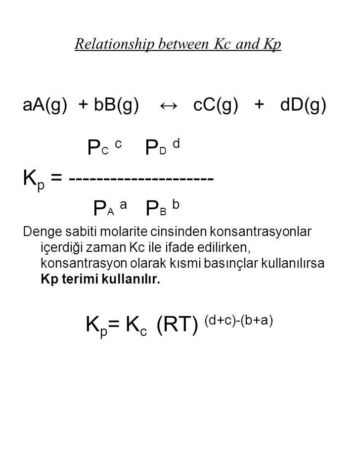 Relationship between Kc and Kp aA(g) + bB(g) ↔ cC(g) + dD(g) P C c P D d K p = --------------------- P A a P B b Denge sabiti molarite cinsinden konsa