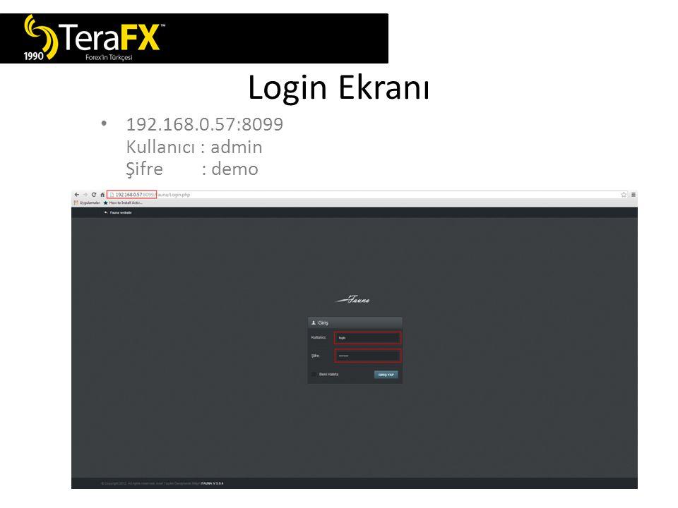 Login Ekranı 192.168.0.57:8099 Kullanıcı : admin Şifre : demo