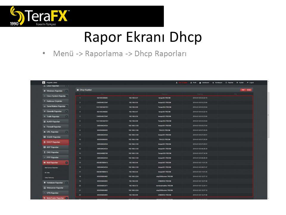 Rapor Ekranı Dhcp Menü -> Raporlama -> Dhcp Raporları
