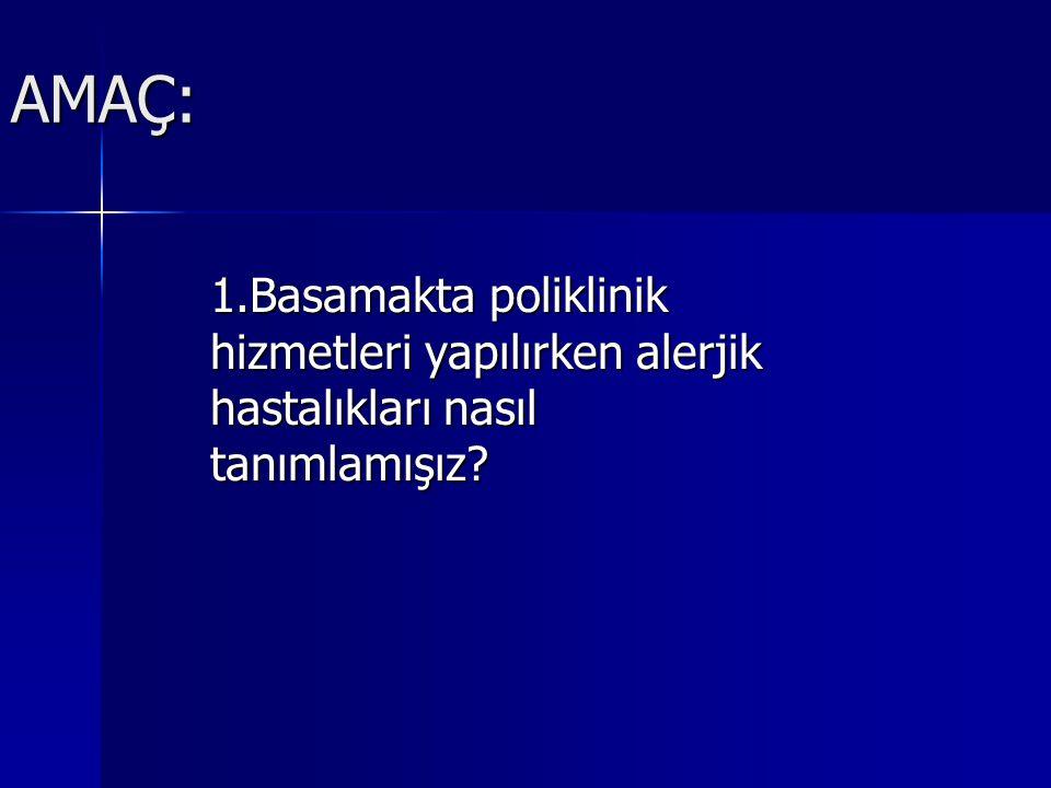 AMAÇ: 1.Basamakta poliklinik hizmetleri yapılırken alerjik hastalıkları nasıl tanımlamışız?