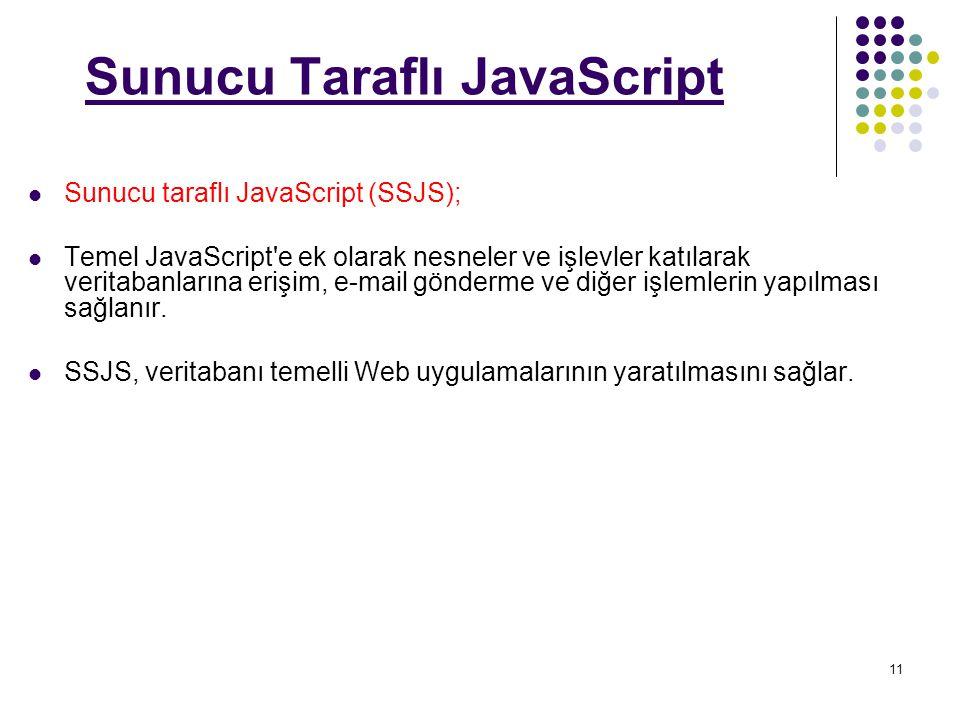 11 Sunucu Taraflı JavaScript Sunucu taraflı JavaScript (SSJS); Temel JavaScript e ek olarak nesneler ve işlevler katılarak veritabanlarına erişim, e-mail gönderme ve diğer işlemlerin yapılması sağlanır.