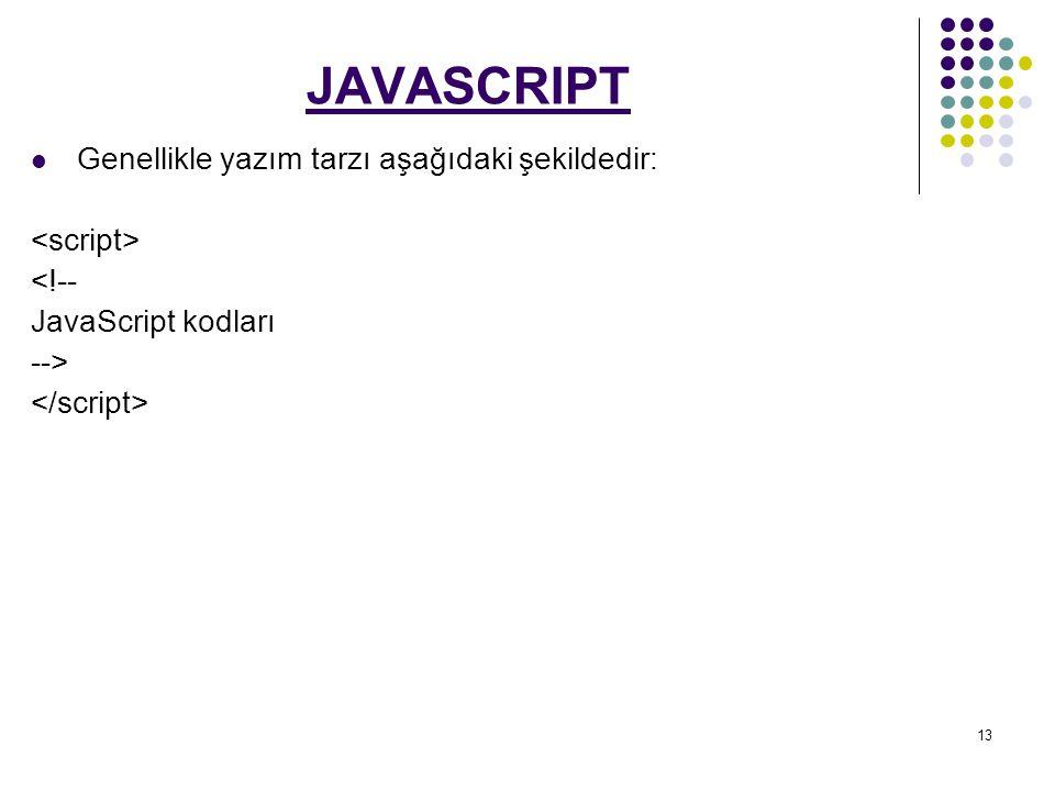 13 JAVASCRIPT Genellikle yazım tarzı aşağıdaki şekildedir: <!-- JavaScript kodları -->