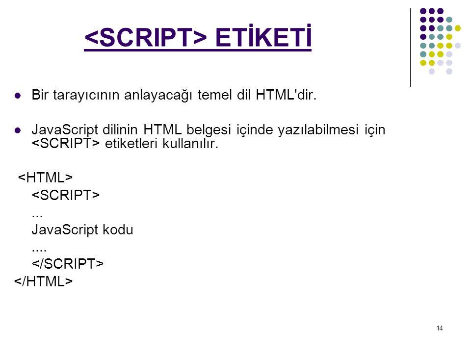 14 ETİKETİ Bir tarayıcının anlayacağı temel dil HTML dir.