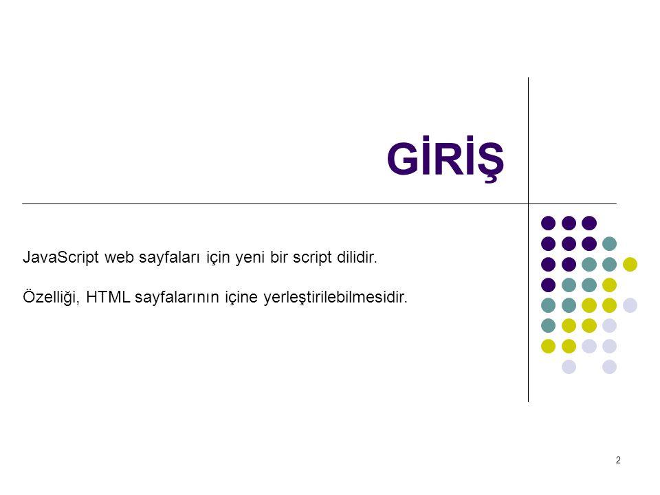 3 GİRİŞ Netscape Navigator 2.0 ile birlikte geliştirilen JavaScript dili istemci taraflı (client-side) script dilidir.