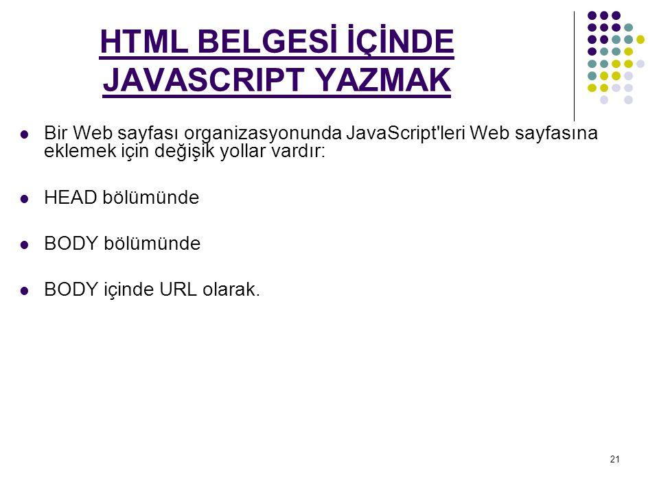 21 HTML BELGESİ İÇİNDE JAVASCRIPT YAZMAK Bir Web sayfası organizasyonunda JavaScript leri Web sayfasına eklemek için değişik yollar vardır: HEAD bölümünde BODY bölümünde BODY içinde URL olarak.