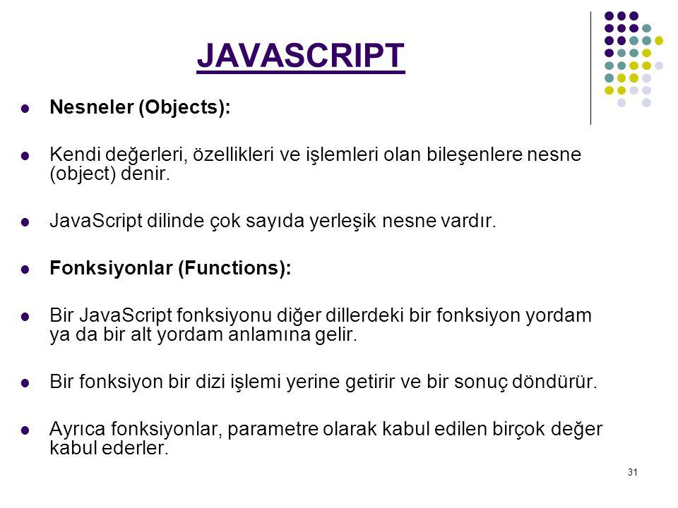 31 JAVASCRIPT Nesneler (Objects): Kendi değerleri, özellikleri ve işlemleri olan bileşenlere nesne (object) denir.