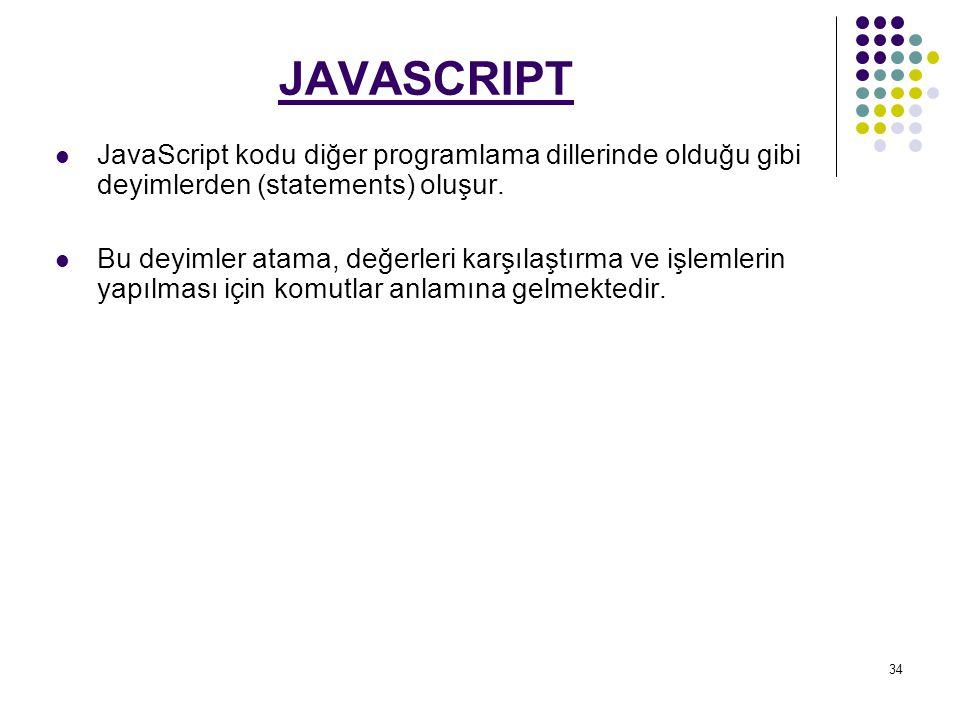 34 JAVASCRIPT JavaScript kodu diğer programlama dillerinde olduğu gibi deyimlerden (statements) oluşur.